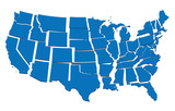 blue map of USA- concept of disintegration, secession poster