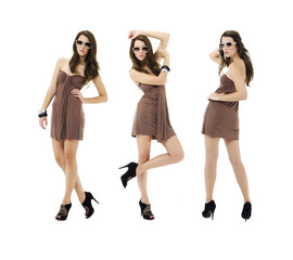 three shot of fashion model wearing sunglasses posing