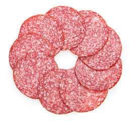 Slices of tasty salami isolated on a white background