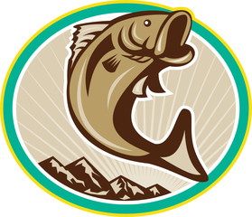 Largemouth Bass Jumping Circle