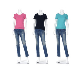 Three female shirt in jeans on mannequin isolated over white