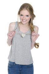 young girl in leisure clothing posing