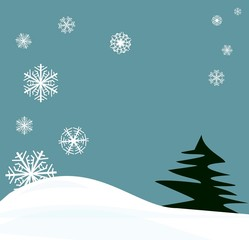 snowflakes winter scene with center space for your ad or message