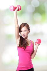 Young sport girl with dumbbells