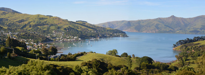 Akaroa Town Panorama, New Zealand