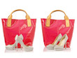 Collage of shoes and bags on white