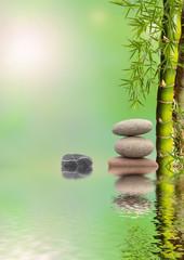 composition zen, bien-être, bambou et galets