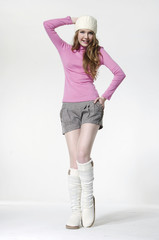 Full length casual leisure fashion woman posing and shorts
