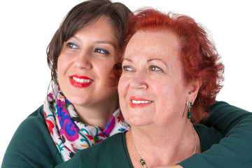 Senior Mother and Middle Age Daughter Close to Each Other