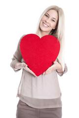 14. Februar Valentinstag -  Mädchen mit rotem Herz isoliert