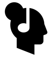 Woman profile with headphones vector icon