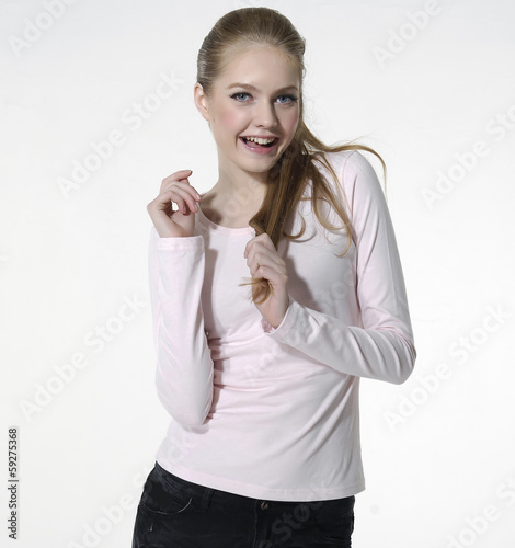 young smile woman in casual style clothing