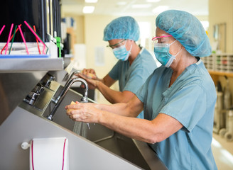 Scrubbing Hands and Arms Before Surgery