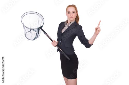 Young woman with catching net on white