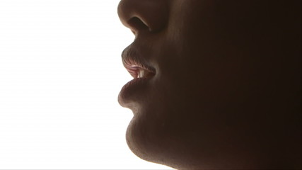 Close-up of black woman's lips