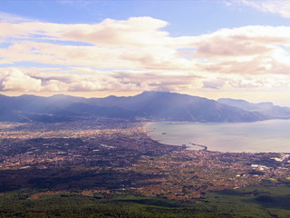 Pompei Valley, view from Mount Vesuvius. Italy