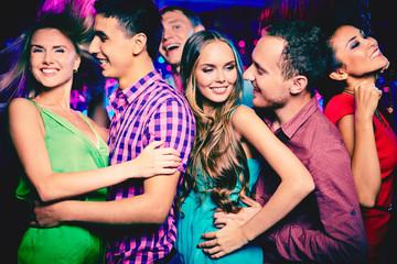 Friends clubbing