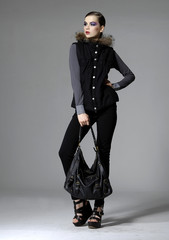 full length fashion model in black jacket