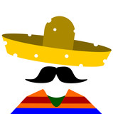 man wearing sombrero with with bullet holes