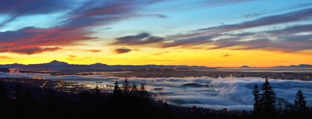Vancouver Panoramic Cityscapes at sunrise