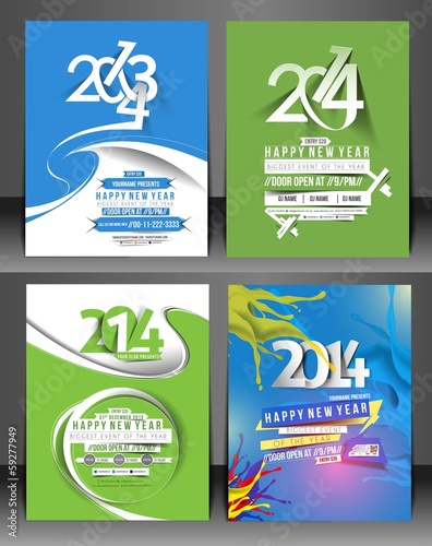 Set Of New Year Party Flyer & Poster Cover Template