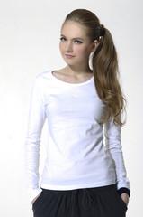 portrait of blonde model wearing white shirt