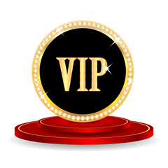 VIP mark on a red podium isolated on white background.VIP mark i