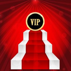 VIP sign on the top of the stairs on red rays background.VIP mar