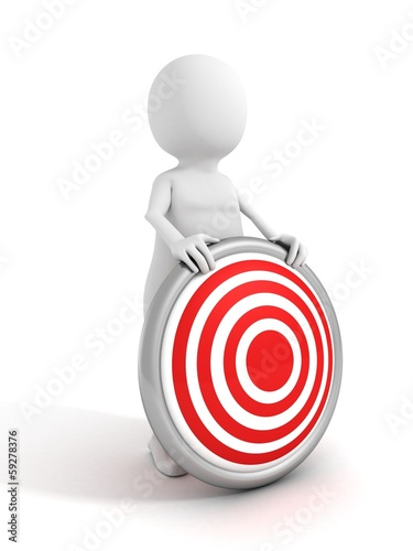 white 3d man character holding red bull eye target