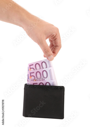 Five hundred euro in purse and hand.