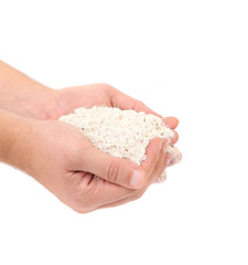 Wheat flour in hands.