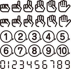 数を表す指とフキダシのアイコン