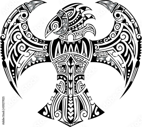 image of an eagle tribal on white background