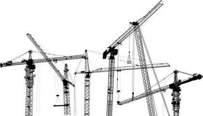composition with six isolated industrial cranes