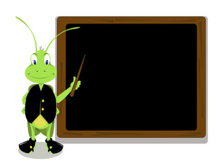 Mr. Cricket and a blackboard