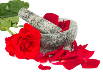 Mortar with rose  and petals