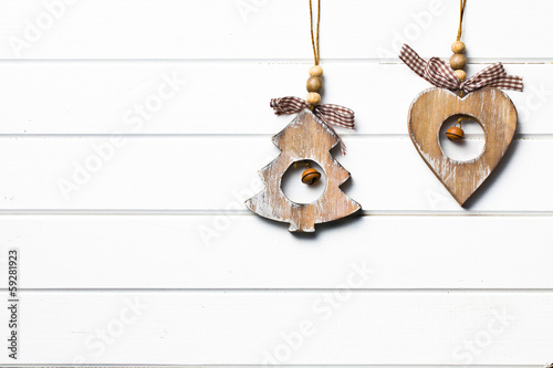 decorative wooden tree and heart