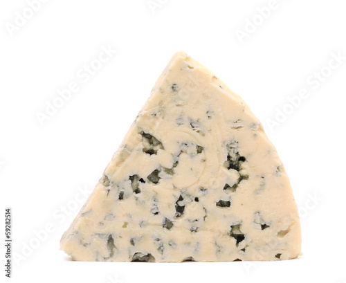 Slice of dor blue cheese.