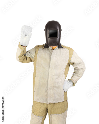 Welder in mask with mittens.
