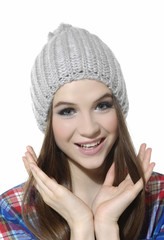 Portrait of a beautiful young woman looking happy