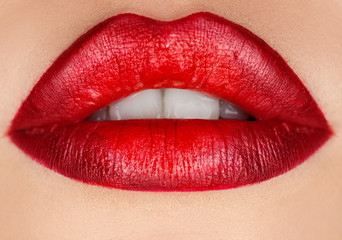 Macro photo of female lips with make up