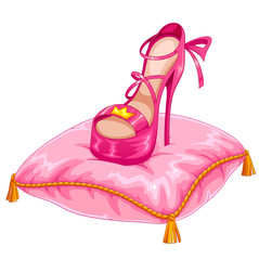 stylish princess shoe placed on a fancy pillow