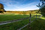Fototapety Wooden fence on nice green meadow