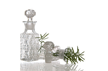 Two decorative glass flasks with plugs