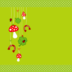 Fly Agarics, Cloverleafs, Horseshoes & Ladybugs Green Dots