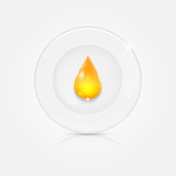 white plate and yellow drop.dishwashing liquid on a background d