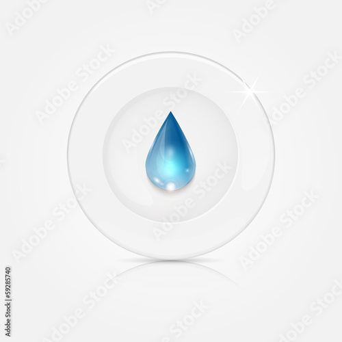 white plate and blue drop.dishwashing liquid on a background dis