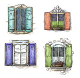 set of vintage windows hand drawn