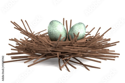 realistic 3d render of magpie nest