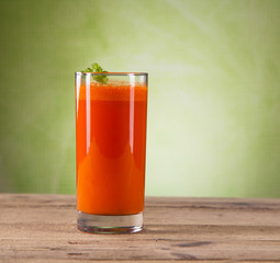 carrot juice on wood